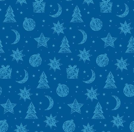 冬クリスマス シームレス パターン。ベクトル図