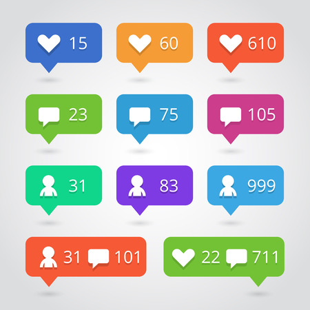 Love, like, follower, comment sign icons set. Buttons with counter Ilustrace