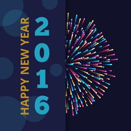 花火で新年 2016年ベクトル抽象的な背景