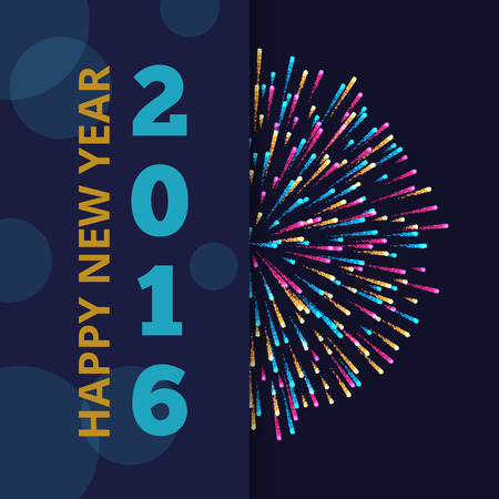 New Year 2016 vector abstract background with fireworks