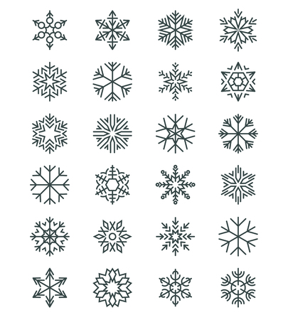 Snowflakes in lanear vector style
