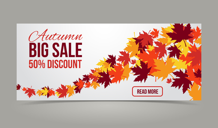 autumn, fall season vector banners set with yellow leaves Ilustrace