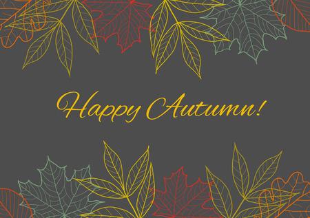 秋の季節の背景、秋のボーダー装飾葉