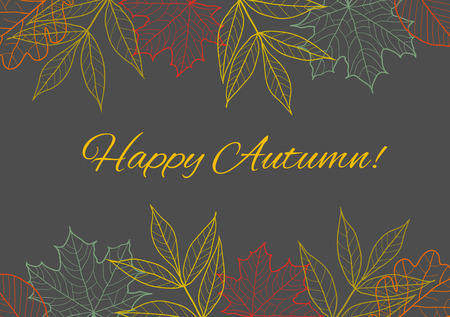 fall seasonal background, border decoration with autumn leaves Ilustrace