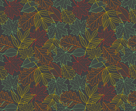 緑と黄色の葉のテクスチャー、ファブリックのシームレスな秋花暗