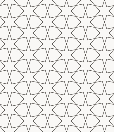 arabic islamic vector seamless pattern in round style with six-pointed stars Ilustrace