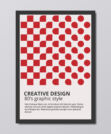 トレンディな幾何学的なベクトルの背景、円と正方形の 80 年代スタイルの最小限のポスター デザイン  イラスト・ベクター素材