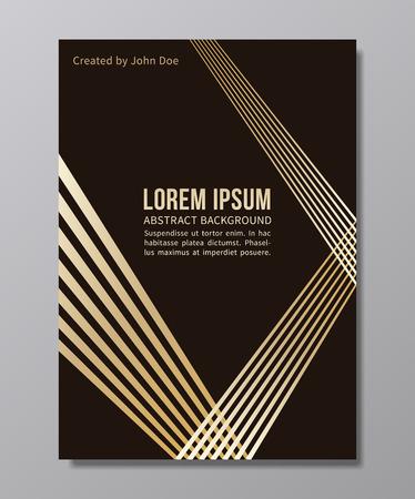 黒に黄金色の光と幾何学的構成。流行のゴールド最小限ベクトル ポスター