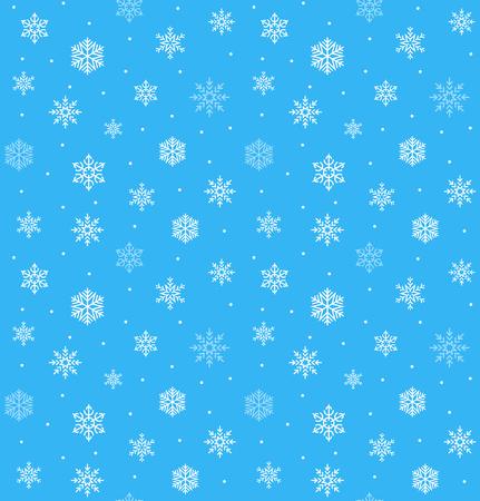 スノーフレーク ベクターのシームレスなパターン。幸せなクリスマスの雪の装飾  イラスト・ベクター素材