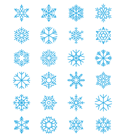 frosted: xmas, christmas simple snowflakes vector frosted signs isolated on white