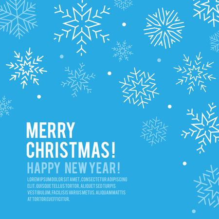 樹氷、雪の結晶、降雪のベクトルの背景、ハッピー クリスマス エレガントな招待状