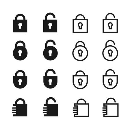 オープンとクローズの南京錠のベクトルのアイコン。ロックとパスワードの記号  イラスト・ベクター素材