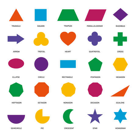 Basic geometric shapes. Ellipse, rectangle and triangle, hexagon and circle, pentagon and star elementary school education vector set. Teaching colorful figures and forms, arrow and trefoil