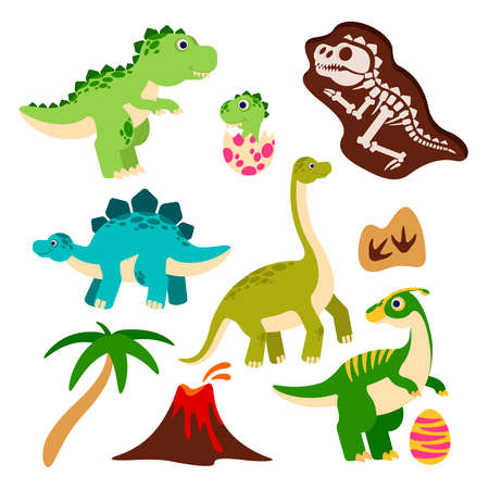Cute dinosaurs. Cartoon dino, baby dragon in egg, prehistoric monster skeleton, palm tree and volcano. Funny jurassic animals vector characters for children book or party event decor