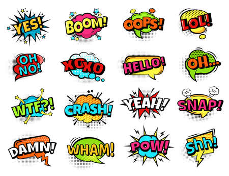Comic sound bubbles. Cartoon action words, boom, oops and pow, yes and oh, lol. Retro comic book text bubbles with halftone vector set. Expression of emotions in pop art style elements