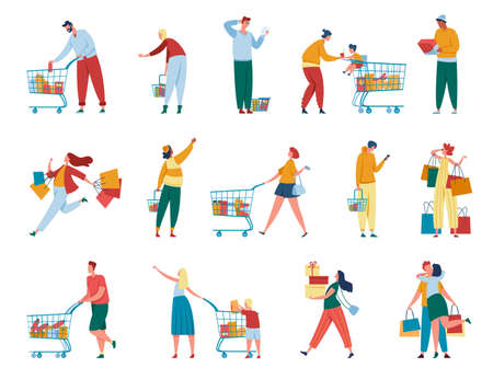 People shopping. Man and women with paper bags, carts, gift boxes purchasing at retail store or mall. Buyers with packages, customer characters vector set. Buying products in grocery shop