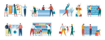 People in store. Family buying groceries. Consultant helping couple purchase home appliance. Men and women shopping at supermarket, mall, boutique vector set. Cashier at counter. Choosing shoes Vektorgrafik