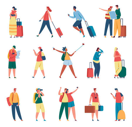 People traveling. Man and woman with backpacks, suitcases. Tourists taking photo, travelers reading map. Summer vacation, tourism activity vector set. Female and male characters with luggage