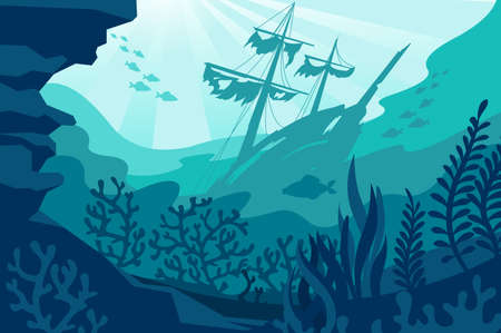 Sea underwater background. Deep ocean bottom with seaweeds, sunken ship, coral and fishes silhouettes. Undersea diving quiet seascape vector panorama. Wild fauna life with wrecked vessel Vecteurs