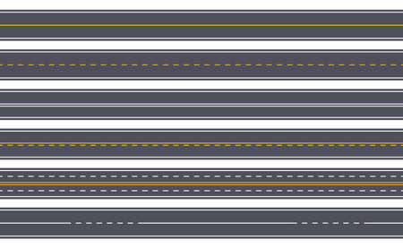 Seamless highway. Straight asphalt road with yellow and white markings. Horizontal urban city street. Empty top view roadway vector set. Construction with lanes for direction for transport