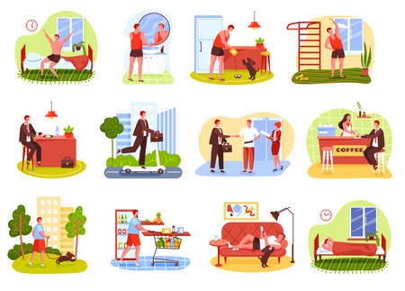Man daily routine. Waking up, working at office, shopping, having dinner, relaxing, going to bed. Businessman everyday life vector set. Male character feeding dog, having coffee break Vettoriali