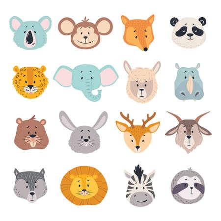 Animal heads. Cartoon faces of koala, monkey and fox, zebra. Cute panda, deer and lion, deer and rabbit, jaguar vector zoo avatars. Childish lovely safari and forest characters set