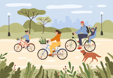 Family on bikes. Parents and kids riding bikes. Active family cycling in city park. Summer outdoor recreation, sports activity vector illustration. People having healthy lifestyle, leisure time Vektorgrafik