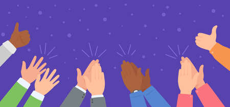 Hand clapping. Diverse team celebrating success. People applause and giving thumb up. Winning, celebration, ovation vector illustration. Characters cheering up winners or performers