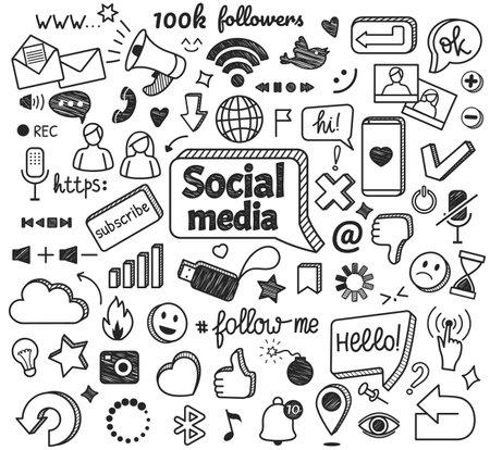 Social media doodles. Hand drawn internet and network sketch symbols. Digital marketing, blogging, online communication doodle sign vector set. Message or chat icons with sta, cloud, smile