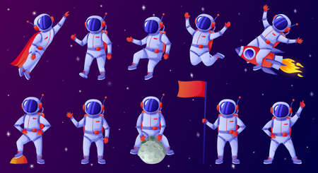 Cartoon astronaut. Cosmonaut waving hand, holding flag, dancing, sitting on moon, riding rocket. Spaceman in outer space vector set. Person exploring cosmos or universe in different positions