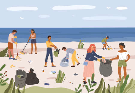 People collecting garbage on beach. Men and women gathering plastic waste in trash bags. Volunteers picking up trash at seaside vector illustration. Sand coast pollution, activists help