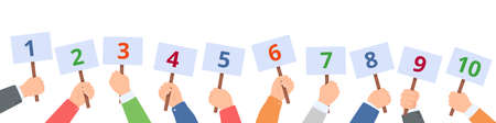 Holding score signs. Hands hold scorecards with numbers. Judges committee with scoring cards. Contest vote, feedback vector concept. People with banners for one to ten, competition evaluation Vettoriali