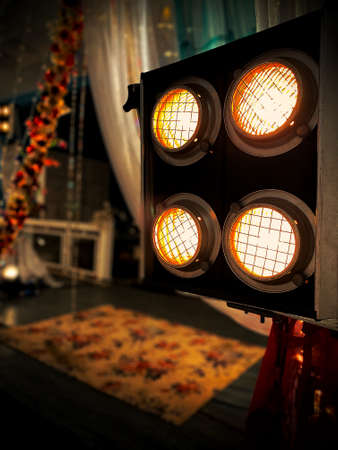 LED Flood lights in an indoor party setup Stock Photo