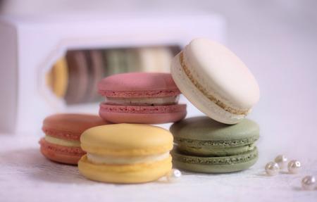pearl tea: Macarons Stock Photo