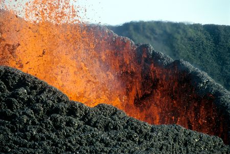 lava: details of volcanic eruption in Piton de la Fournaise (Reunion Island, 2003 august)