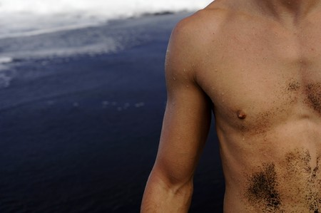 shiver: part of male torso with arm and tattoo Stock Photo