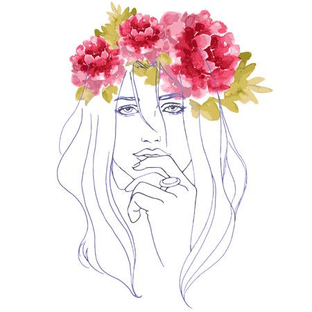pfingstrosen: h�bsches Aquarell Blume mit Pfingstrosen und Frau Illustration