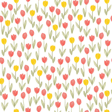 crayon sketch seamless pattern with flowers tulip