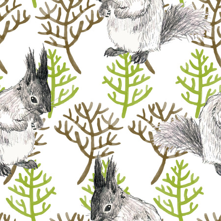 watercolor and pencil seamless pattern with branches and animal squirrel Vector