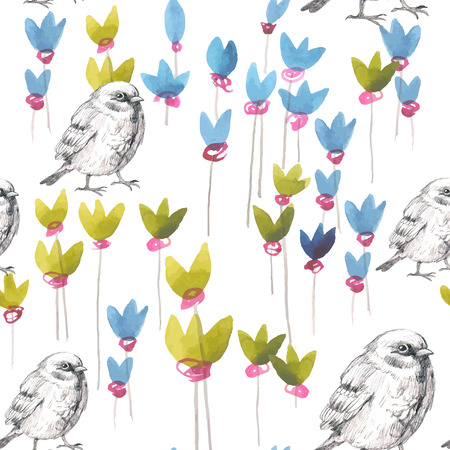 pencil and watercolor sketch seamless pattern with flowers and bird sparrow Vector