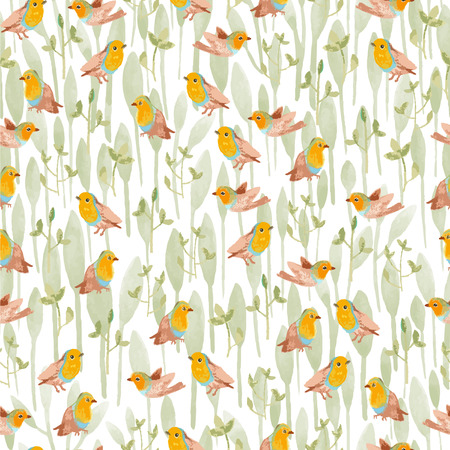 pencil sketch seamless pattern with flowers and bird robin Vector