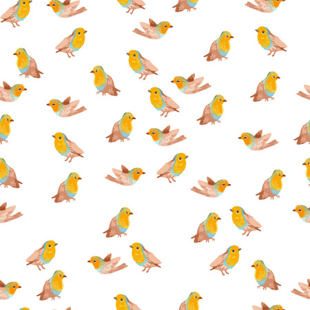 robin bird: pencil sketch seamless pattern with bird robin
