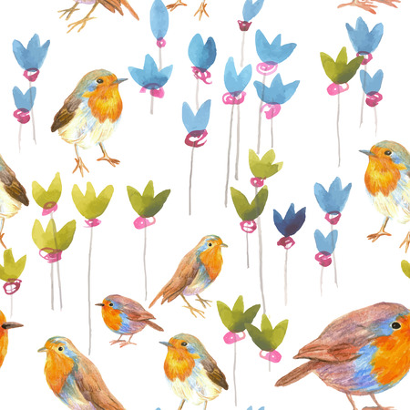 robin bird: pencil and watercolor sketch seamless pattern with flowers and bird robin
