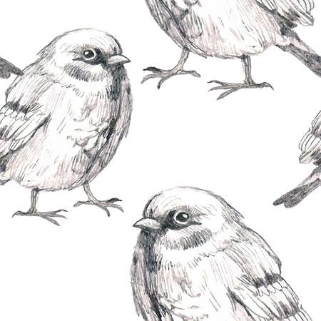 sparrow: pencil sketch seamless pattern with bird sparrow