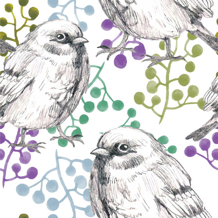 water animal bird card  poster: pencil sketch watercolor seamless pattern with leafs flower and  bird sparrow Illustration