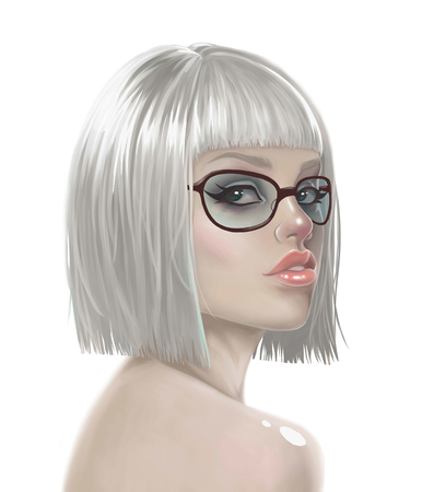 wigs: illustration of a sexy girl in a wig and glasses