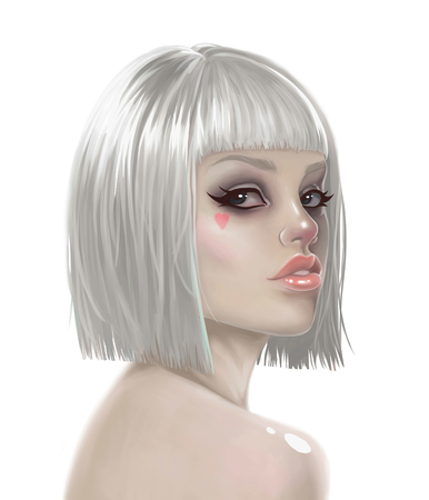 wigs: illustration of a sexy girl in a wig