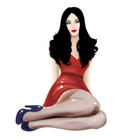 pinstripes: illustration of a beautiful girl with a sexy pinup style Stock Photo