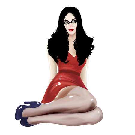 pinstripes: illustration of a beautiful girl with a sexy pinup style and glasses