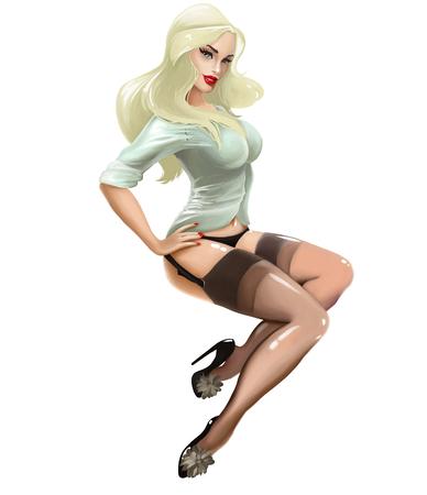 아름 다운 섹시 한 빈티지 소녀 핀 최대 및 burlesque와 그림